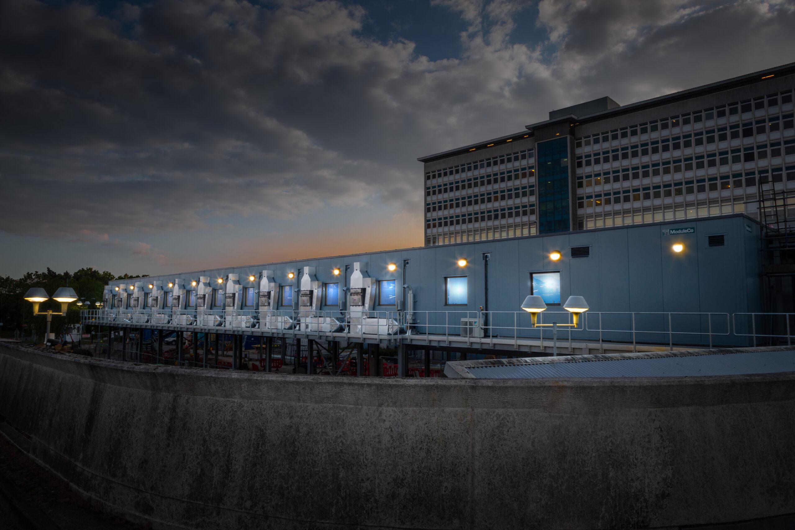 ModuleCo Modular Negative Pressure Isolation unit at Cardiff hospital Twilight External Image